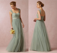 Cheap Long A Line Bridesmaids Dresses Cheap Juliette Tulle evening Lace Top Sea Glass Sweetheart Formal Party Dress Special Occasion Gowns 00578