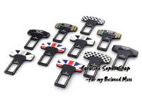 auto unions - 2pcs set Mini Cooper autos seatbelt buckle MINI union jack checker emblem car auto seat belt clip many types available M49320