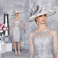 Mother's Dresses autumn cocktails - Silver Mother Of The Bride Dresses Cocktail Dress Half Sleeve Beaded Sequin Lace Knee Length Evening Gowns