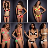 Cheap New 2014 Summer Hot Sexy Women Bandage Bikini Set Bra Assorted Colors Swimming Wear Push Up Swim Suit Bathing Suit 4 colors