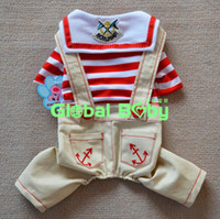jeans lot - Pieces High Quality Hot Sale Cotton Striped Dog Pet Jeans Rompers Apparel Clothes