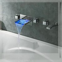 Wholesale New Arrival Color Changeable Wall Mounted LED Waterfall Tub Faucet Mixer Tap style bathroom faucets