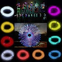 Wholesale 3M ft Flexible EL Wire Rope Neon Light Glow With Controller For Party Dance Car Decor