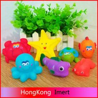 bathing items - 2016 Colorful Marine Animals Baby Water Fun Bathing Toys Pinch Sounds Rubber Kids Swiming Beach Sand Play Baby Toys