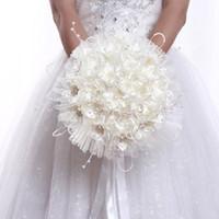 beautiful flowers bouquet - Beautiful White Wedding Bouquet Handmade Bridesmaid Bridal Bouquets Wedding Flower Artificial Flower Pearls Bouquet JM0096
