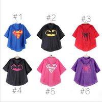 Wholesale New Children Raincoat Superman Spiderman Batman Cape Style Poncho