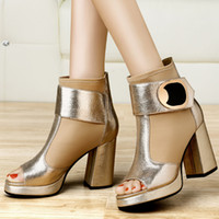 Wholesale 2015 spring sexy womens dress shoes ankle boots stiletto heels shoes chunky heels high heels shoes peep toe shoes for lady size