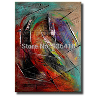 contemporary oil paintings - Palette Knife Painting Red Abstract Modern Art Oil painting Hand made Painting Contemporary Art On canvas Home Decor Wall Art