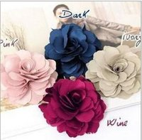 Men's fabric flower pin - Bride peony big fabric flower Fashion Fabric Flower Hair Clips Flower Corsage Brooch Pins Women Flower Headwear beach