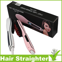 Wholesale Professional Straightening Irons Comb Fast Hair Straightener Styling Tool Straightener Iron Brush with LCD Digital Temperature Control