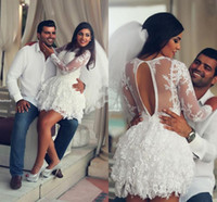 Wholesale Beach Short Wedding Dress Lace Long Sleeve Sheer Back A Line Sexy Wedding Dresses Saudi Arabia Short Bridal Gowns for Wedding Party