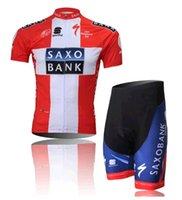 Wholesale SAXO BANK men s cheap riding bicycle Cycling wear mesh short Sleeve Jersey shorts set size S XXXL