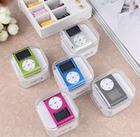 Wholesale Mini Clip MP3 Player with LCD screen Support Micro SD TF Card with Clip control earphones Usb cables retail box