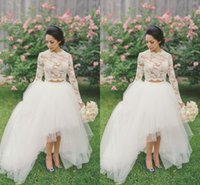 Wholesale Hi Low Berta Wedding Dresses Two Pieces Romantic Lace Sheer Corset High Collar Long Sleeve Illusion Ball Gown Pleats Bridal Dress