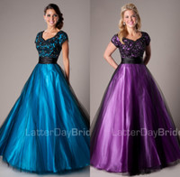 ball cap sizing - 2015 Black Purple A line Modest Prom Evening Dresses With Sleeves Floor Length Beaded Lace Appliques Tulle Prom Gowns Modest Cheap