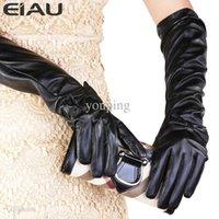active teacher - cm Elbow Bow knot Black Winter Plus velvet Thickening PU Synthetic Teacher Long Women Gloves Dance Mittens For Girls