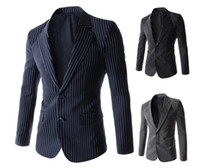 Wholesale 2015 new arrive Fashion Men s suits slim men s outwear stripe suits Two buckle leisure suit men s Blazers navy