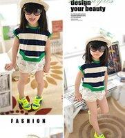 t-shirt wholesale - Girl T shirts Larger Stripe Lace Bottom Kint Short Sleeve Summer T shirts Y