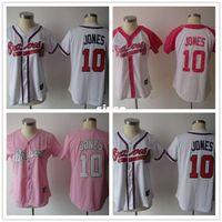 best buy pink - 30 Teams Chipper Jones Jersey women Atlanta Braves female baseball pinstripe jersey pink cheap authentic sport Stitched best buy dr