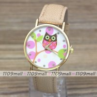 Wholesale 2015 new arrival cute pattern leather watch Color Owl pattern for dress quartz watch and cheap price