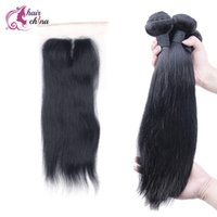 Natural Color amazing hair products - Brazilian Virgin Hair Straight Bundles With Top Lace Closure Human Hair Weaving Amazing Hair products