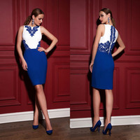 Cheap Stunning Blue And White Applique Cocktail Dresses Crew Neckline