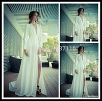 Cheap 2015 Real Top Fashion Natural Full Long Sleeve Chiffon Wedding Dresses V Neck Front Slit Bridal Gowns Custom Made Married Dress