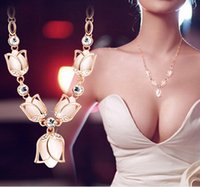 bling jewelry - 2015 Trendy Necklaces Pendants Link Chain Collar Long Plated rose Necklace Statement Bling Fashion Necklace Women Jewelry