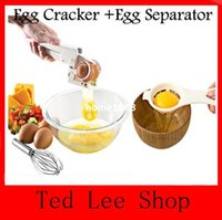 Wholesale Egg Separator Filter Separate Eggs Perfectly Good Bye Shell Chips Handheld Egg Cracker egg ez cracker easy cracker FreeShiping