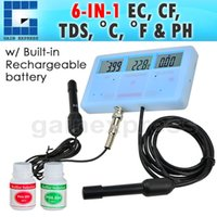 Wholesale PHT Multi Function in Water Quality Meter Tester EC CF TDS PH degree C and F Built in Rechargeable Battery