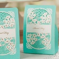Cheap Blue Wedding Favor Box Laser Cut Chocolate Candy Boxes as Wedding Decorations