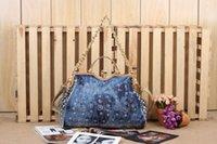 brand name handbag - Top brand name leisure women shoulder bag designer crystal diamond jean tote bags handbags Fashion Denim Handbags