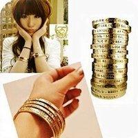 Wholesale Crazy hot Alloy Lady fashion Pray BANGLE Bracelet Charm Bracelets wrist jewelry Women carve characters Bangle BRACELET Bangles