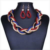 Wholesale Fashion New african Jewelry Sets Metal Knitted Chain Collar Necklace Earring For Women Jewelry Accessories Statement Jewelry