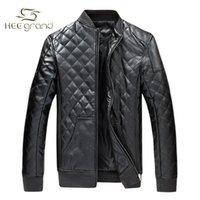 Wholesale 2016 Men New Arrival PU Leather Jacket Slim Stand Collar Autumn Winter Plus Size M XL Plus Velvet Jacket Coat For Male MWP084