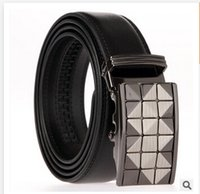Wholesale 2 collors mix design HOT Fashion belt MEN S Genuine Leather Waist Strap Belts Automatic Buckle Black C1379