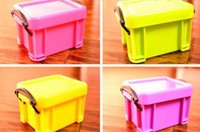 small plastic boxes - Small candy color transparent mini storage box Plastic Storage Boxes Storage Cases Cute Jewelry box