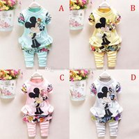 Cheap New Cartoon Minnie Mickey mouse clothes suits Baby Girls Long sleeved jacket +Trousers Two-piece Suits B001