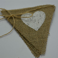banner backdrop - Heart Hessian Triangle Flag Baby Shower Rustic Wedding Decorations event party Supplies Burlap Pennant Banner