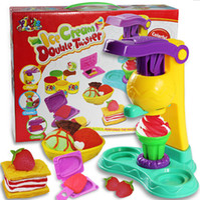 Wholesale Non toxic mud ice cream extruder kit Playdough education DIY children toys D plasticine and tool kit