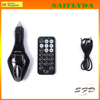Wholesale HOT LCD Car mp3 Display Remote Control Car Kit MP3 WMA Wireless Player Mp3 FM Transmitter SD MMC SD Card USB2 Port Audio Cable MP3 Players