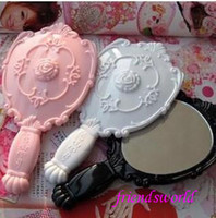 Wholesale DHL Vintage Rose Cosmetic Mirror Plastic Makeup Mirror Cute Girl Hand Make Up mirror