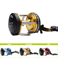 Wholesale 5BB RIGHT HAND Drum Trolling Reel Gear Ratio Trolling Boat Fishing Reel Golden Red Blue g oz Baitcasting Reel
