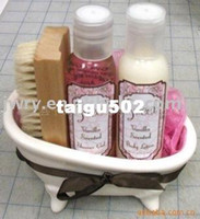 bath shower gel - SWEET MINI BATH TUB SET SHOWER GEL BODY LOTION BODY PUFF WOODEN BRUSH MIN CERAMIC BATH TUB LOVELY