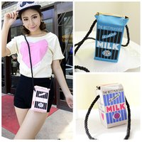 Wholesale 2015 Latest Stereoscopic Milk Box Shape Magnetic Closure mini Bag Female Shoulder Bag Day Clutches Messenger Bag H13838