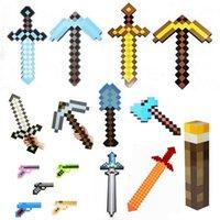 weapons - Minecraft Foam Diamond Mosaics EVA Sword Pickaxe Axe Gun shovel torch Combo Set designs weapons Gold Grey Blue children gift HX
