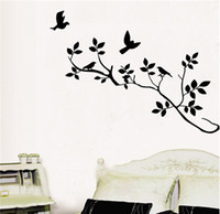 Wholesale Wall Stickers Branch and birds Setting Room Creative Cute Customization Home Decals New Background Family Bedroom PVC Waterproof Wallpaper