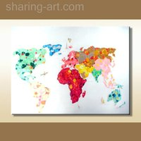 Cheap new design world map Modern Fashion cartoon abstract oil painting on canvas wall art for home hotel cafe decoration nice gift