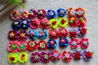 Wholesale 100pcs New Arrival Dog Bows Pairs Rubber bands Mix Bright Color Ribbon dog Puppy pet hair bows for Festival dog accessories