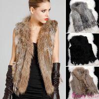 Wholesale New Women Genuine Knitted Rabbit Raccoon Fur Vest Collar Fur Natural Real Fur Coats Waistcoat Jackets Plus Size XXXL SJM